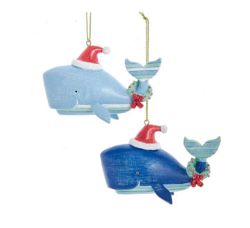 Whimsical Blue Striped Whales with Wreaths Christmas Holiday Ornaments Set of 2
