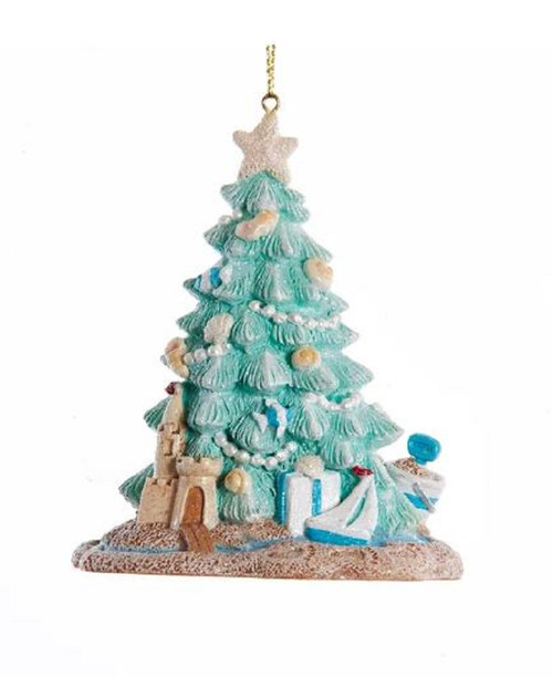 Coastal Beachy Decorated Tree in the Sand Christmas Holiday Ornament