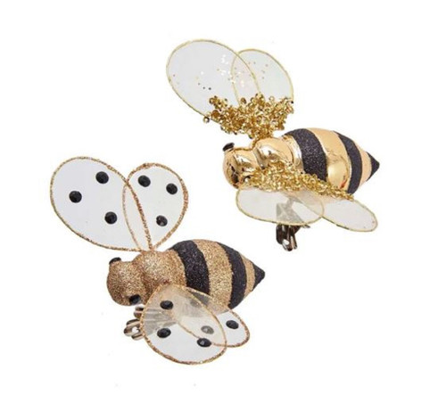 Golden Honey Bees Clip On Christmas Holiday Ornaments Set of 2