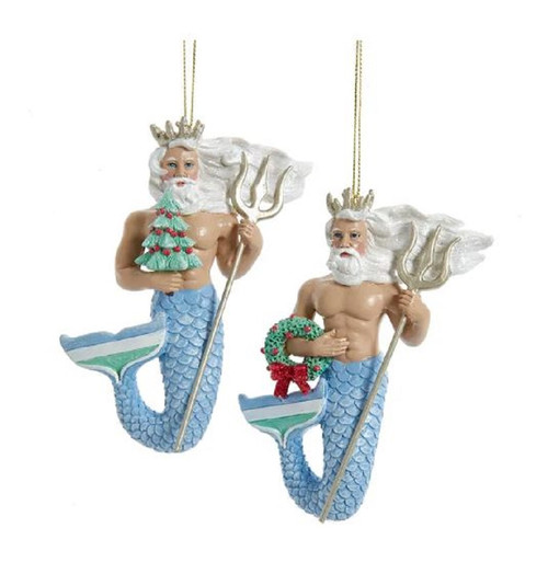 King Neptune Under the Sea Christmas Holiday Ornaments Set of 2