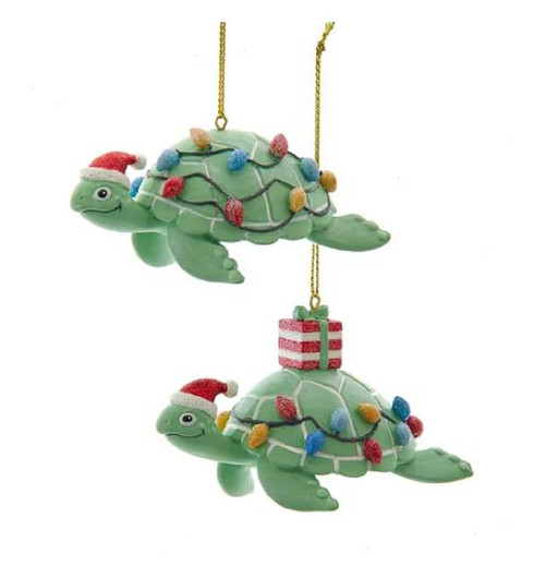 Whimsical Green Sea Turtles in Santa Hats Christmas Holiday Ornaments Set of 2