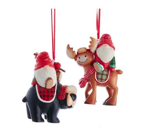 Timber Woodland Gnomes Riding Deer and Bear Christmas Holiday Ornaments Set of 2