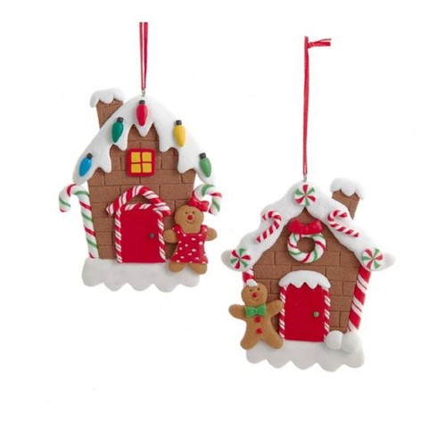 Gingerbread Houses with Boy and Girl Christmas Holiday Ornaments Set of 2