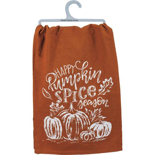 Happy Pumpkin Spice Season Pumpkins Printed Kitchen Dish Towel Cotton