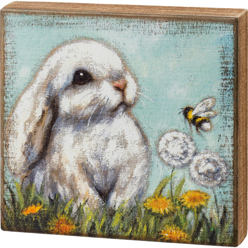 White Bunny Rabbit and Bumblebee Farmhouse Block Sign Wood