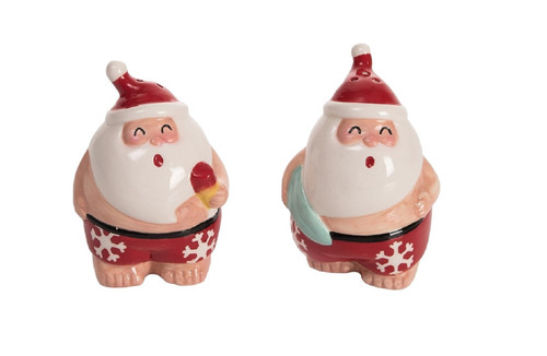 Santas Surfing Salt and Pepper Shaker Set Red and White
