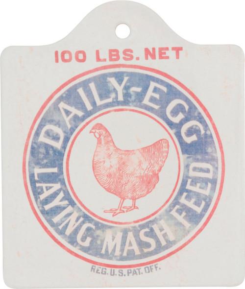 Chicken Daily Egg Laying Mash Feed Stone Farmhouse Kitchen Trivet