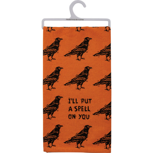 I'll Put a Spell on You Crow Black and Orange Halloween Kitchen Dish Towel