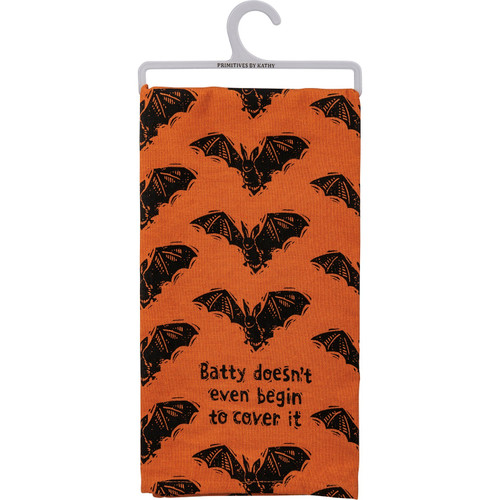 Batty Doesn't Even Cover It Bat Black and Orange Halloween Kitchen Dish Towel