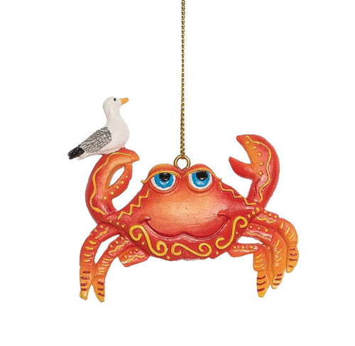 Crab with Seagull Perched on His Claw Christmas Holiday Ornament