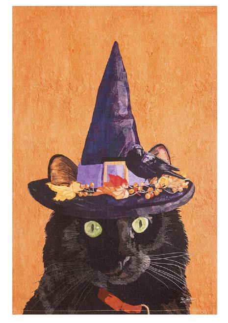 Witch Cat Green Eyes Halloween Printed Flour Sack Kitchen Dish Towel