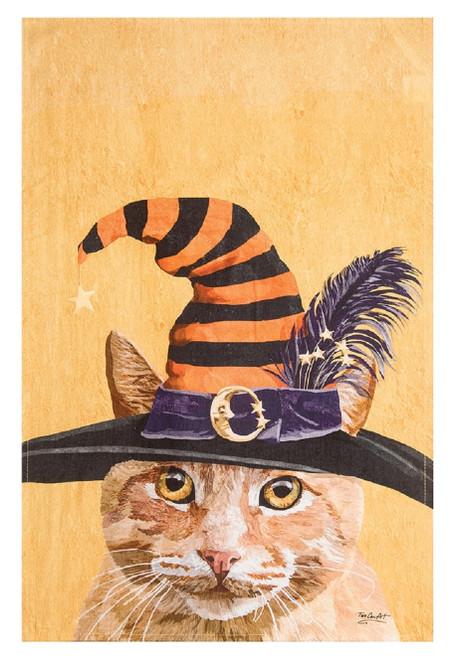 Witch Cat Chuck Halloween Printed Flour Sack Kitchen Dish Towel
