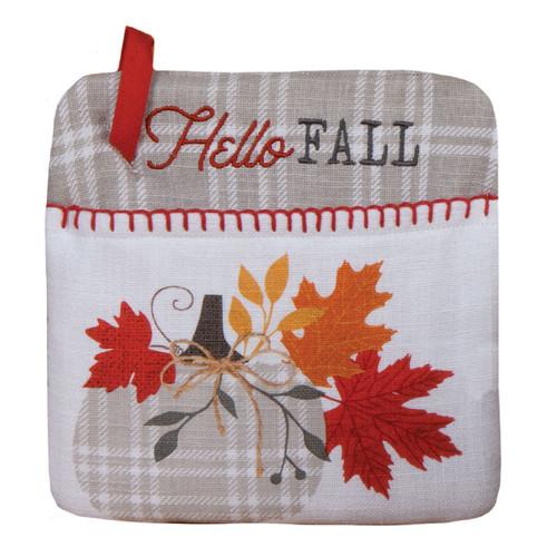 Harvest Blessings Gray and White Plaid Hello Fall Kitchen Pocket Mitt