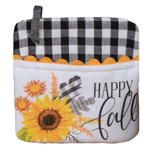 Happy Fall Black and White Plaid Sunflowers Kitchen Pocket Mitt