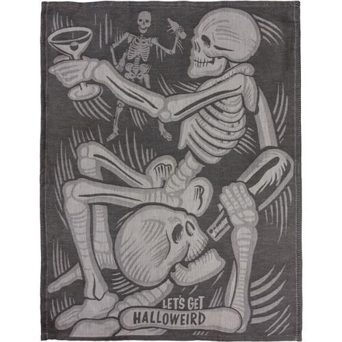 Halloween Lets Get Halloweird Skeletons Black White Kitchen Dish Towel Cotton