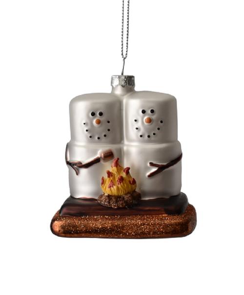 Smores Building a Campfire Christmas Holiday Ornament