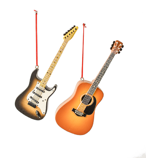 Acoustic and Bass Guitars Christmas Holiday Ornaments Set of 2