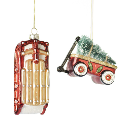 Red Sled and Wagon Pulling Tree Christmas Holiday Ornaments Set of 2