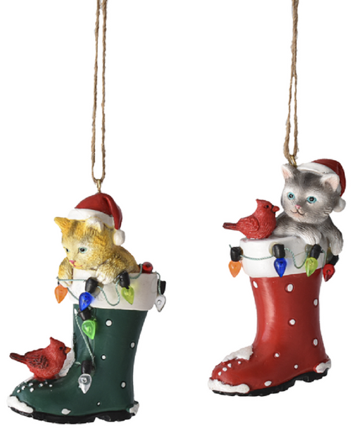 Kittens in Red and Green Santa Boots Christmas Holiday Ornaments Set of 2