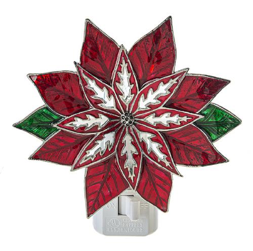 Poinsettia Flower Christmas Holiday Night Light