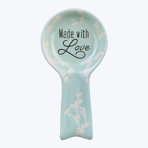 Turquoise Country Farmhouse Made With Love Embossed Spoon Rest Ceramic