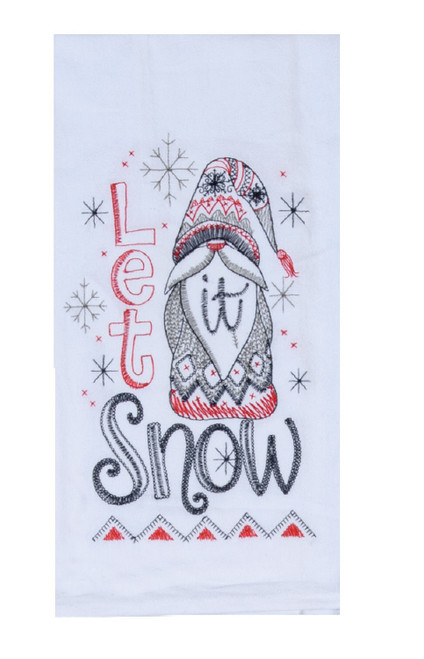 Nordic Gnome Let is Snow Winter Holiday Kitchen Flour Sack Towel