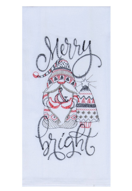 Merry and Bright Nordic Gnome Christmas Holiday Kitchen Flour Sack Towel