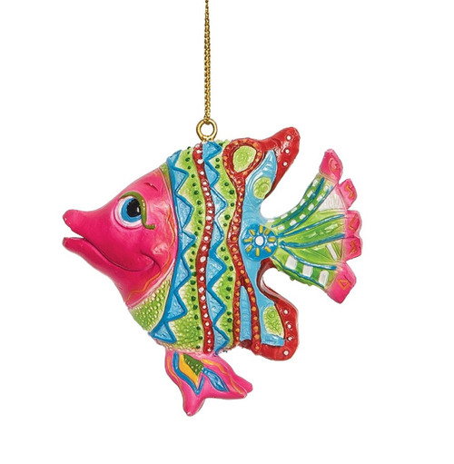 Green Blue and Pink Striped Fish Christmas Holiday Ornament