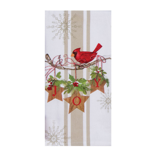 Joy Cardinal Winter Garden Christmas Holiday Dual Purpose Kitchen Terry Towel