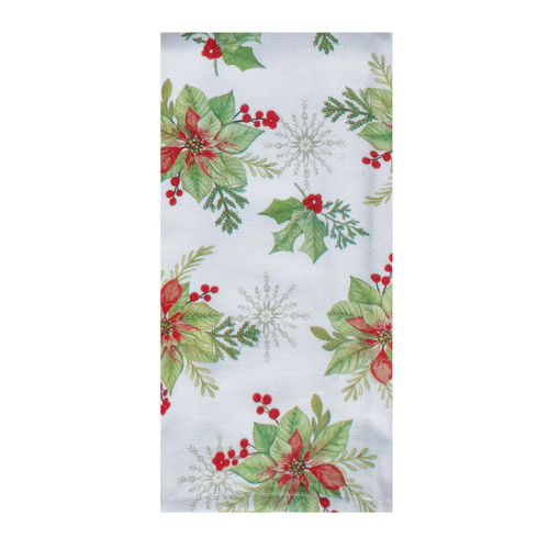 Cardinal and Flowers Winter Christmas Holiday Dual Purpose Kitchen Terry Towel
