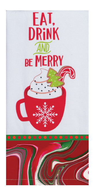 Eat Drink and Be Merry Cup of Cocoa Christmas Dual Purpose Kitchen Terry Towel