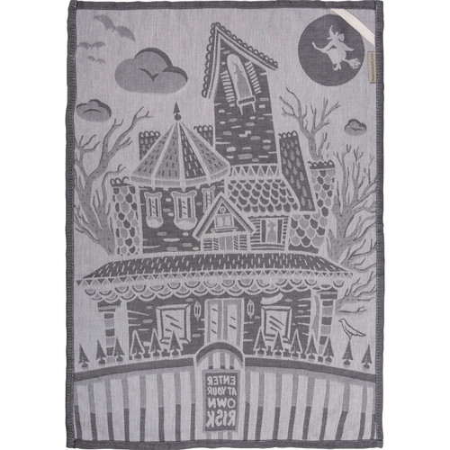 Halloween Haunted House Enter At Your Own Risk Gray Kitchen Dish Towel Cotton