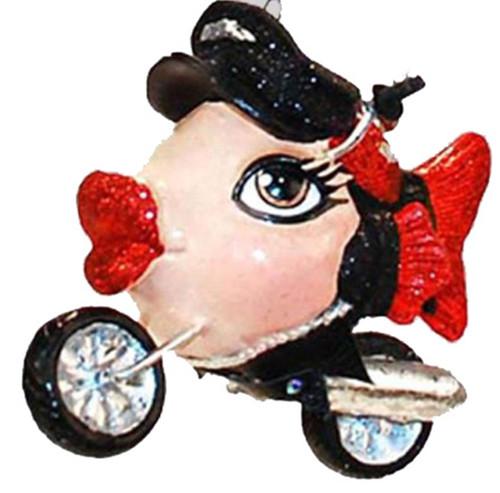 Biker Motorcycle Red Kissing Fish Christmas Ornament