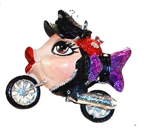 Biker Motorcycle Purple Kissing Fish Christmas Ornament