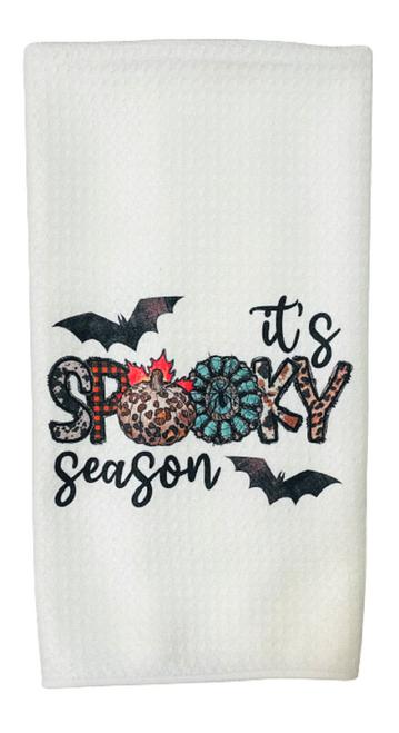 Its Spooky Season Bats Halloween Microfiber Waffle Weave Kitchen Dish Towel