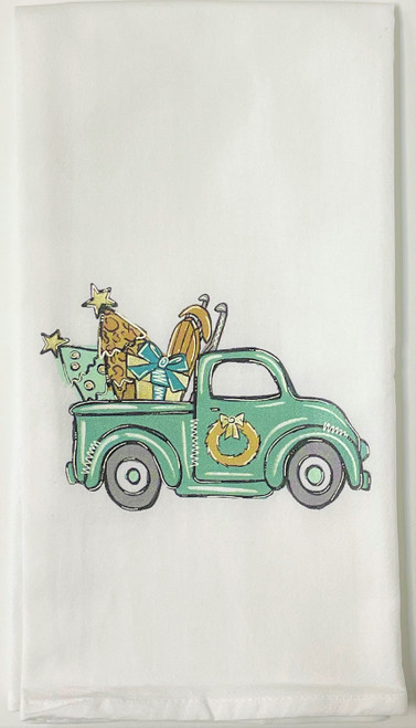 Teal Pickup Truck Filled with Holiday Trees Christmas Kitchen Flour Sack Towel