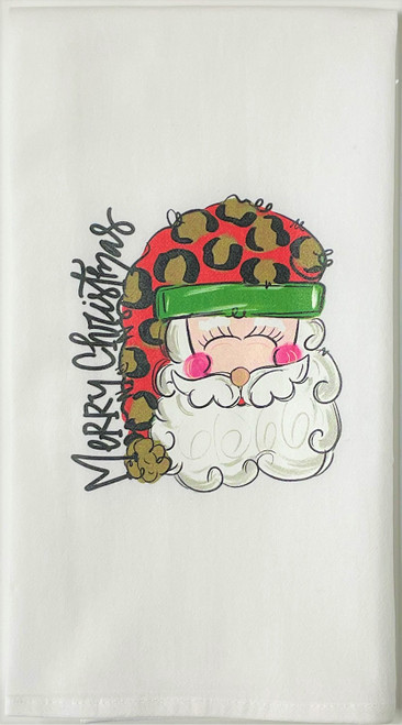 Merry Christmas Jolly Santa in Leopard Hat Holiday Kitchen Flour Sack Towel