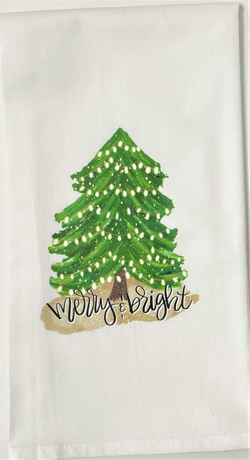Merry and Bright Christmas Tree Holiday Kitchen Flour Sack Towel