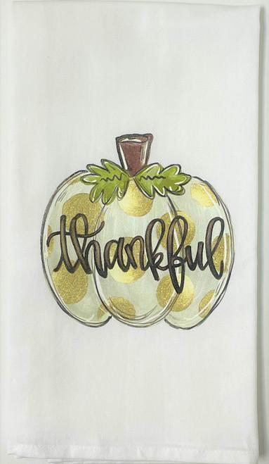 Thankful Pumpkin Thanksgiving Fall Kitchen Flour Sack Towel