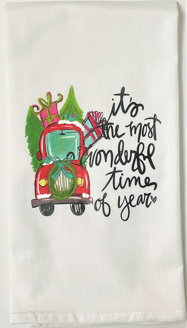 Most Wonderful Time Christmas Truck Holiday Kitchen Flour Sack Towel
