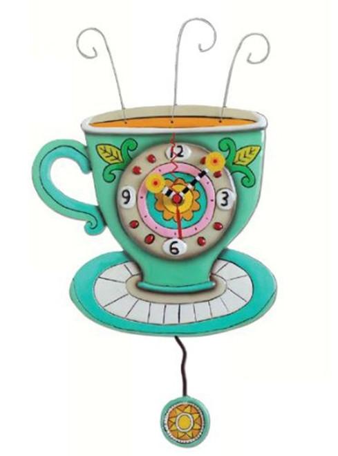Allen Designs Sunny Cup Full of Coffee Kitchen Pendulum Battery Wall Clock