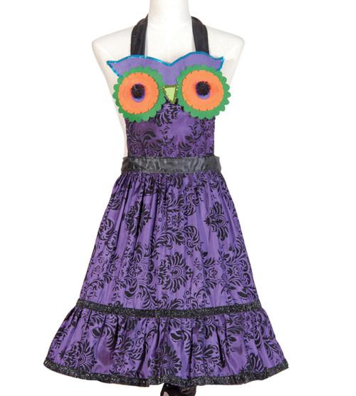 Glitter and Sequins Purple Hoot Owl Satin Kitchen Apron Halloween Accessory