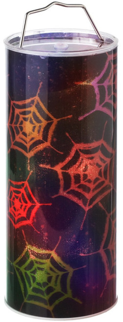 Spooky Halloween Spider Webs Lights Up LED 12 Inch Hanging Pillar