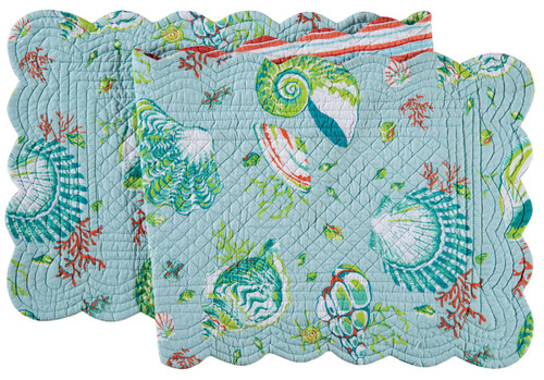 Laguna Breeze Shells Coral Blue Green Quilted Reversible Table Runner 51 Inch