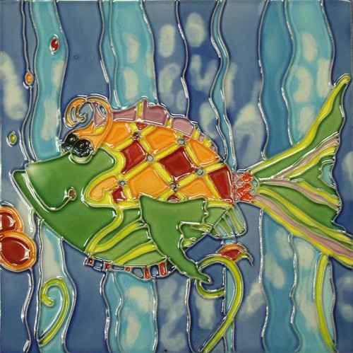 Fun Colorful Christina Green Tropical Fish 6x6 Inches Ceramic Tile Art