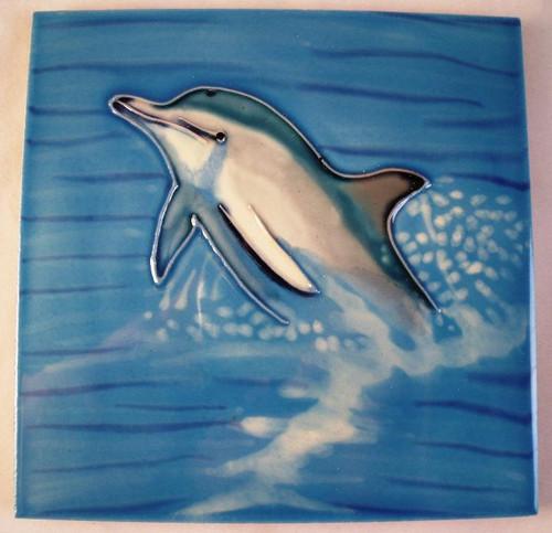 Coastal Blue Dolphin Swimming 6x6 Inches Ceramic Tile