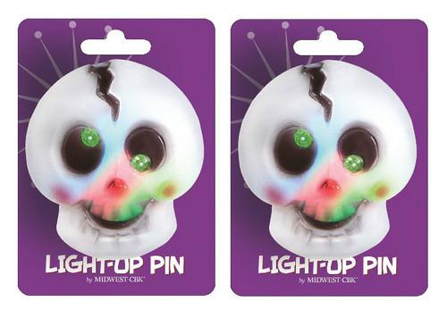Spooky Fun Lights Up Halloween Skull Bones Pin Set of 2