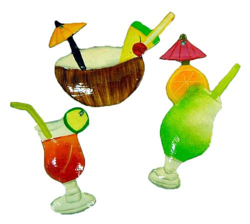 Tropical Tiki Drink Glasses Tree Ornament Set  C of 3