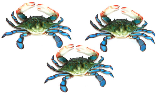 6 Inch Maryland Blue Crab Set Of 3 Beach Tiki Bar Wall