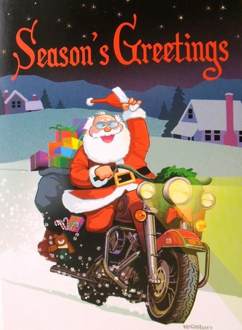 Biker Christmas.Seasons Greetings Santa Motorcycle Biker Christmas Holiday Boxed Cards
